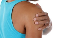 [Image of man holding his painful shoulder] Click the button below to request an appointment online.